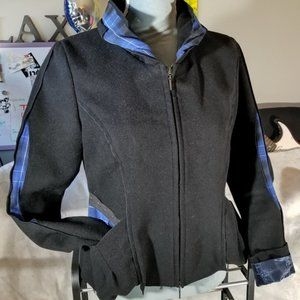 Animale Black & Blue L/S Zip-Up Jacket w/ Pockets